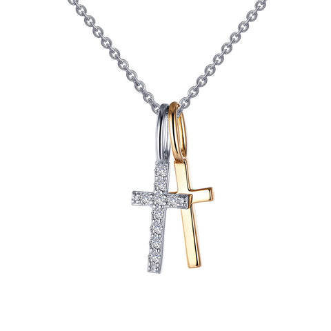 Cross Shadow Charm Pendant Necklace
