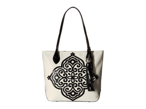 Brighton Starla Medallion Tote Black and White