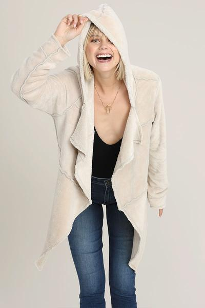 Plush Cozy Cardigan Nude