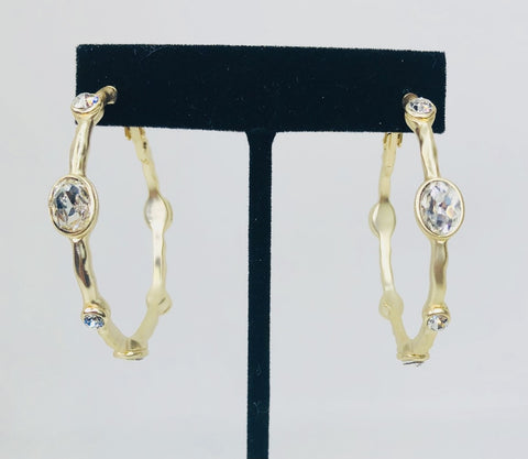 Oval Crystal on Gold Hoops