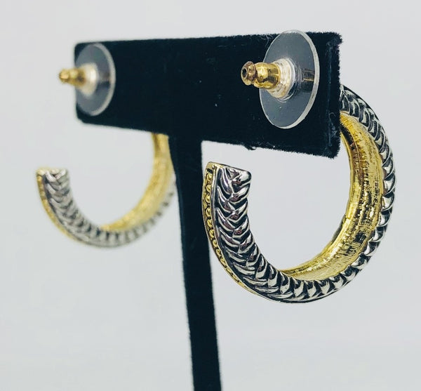 Two Tone Textured Hoops