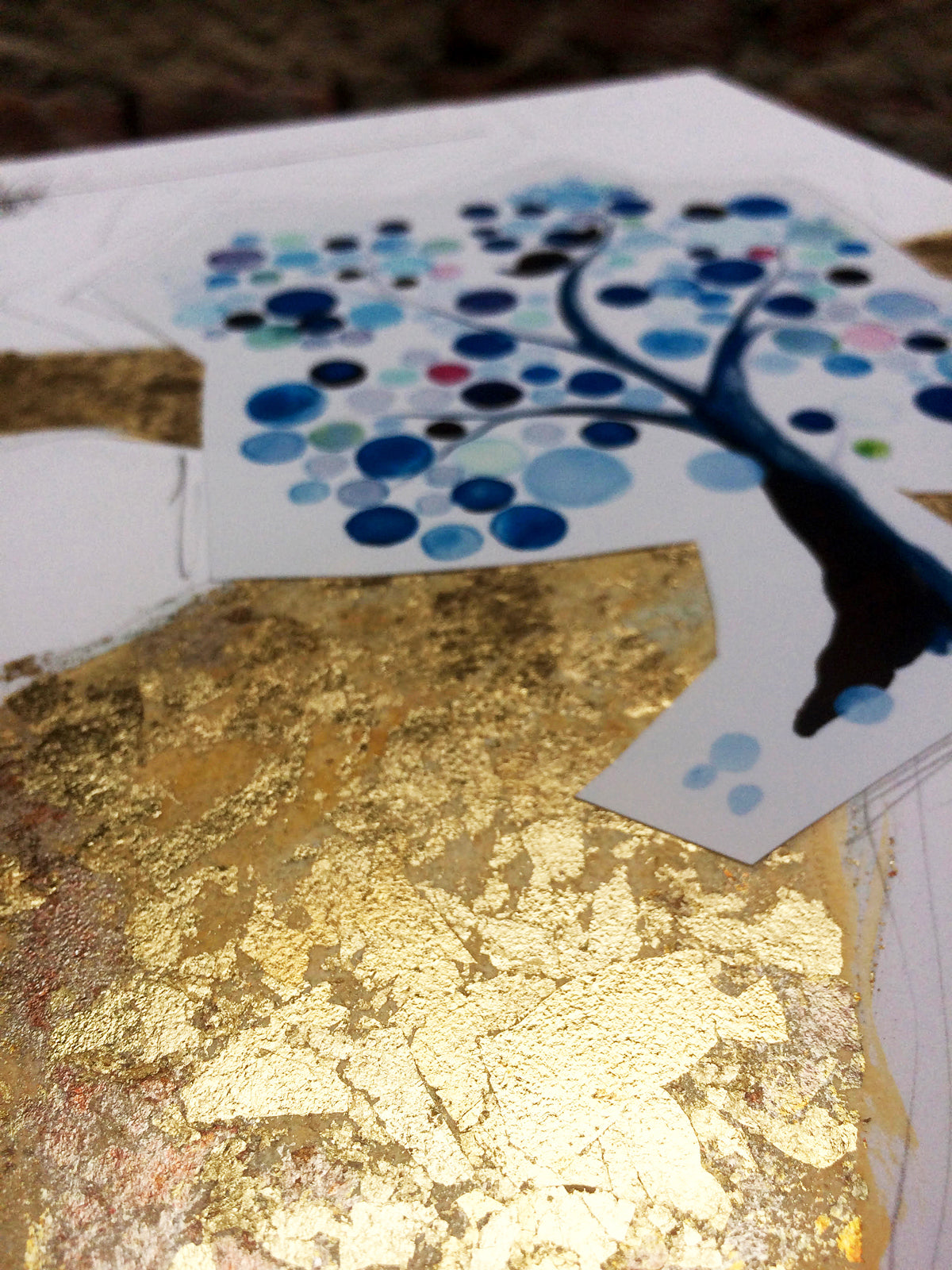 Gold leaf tree of life artwork from Gan Eden series