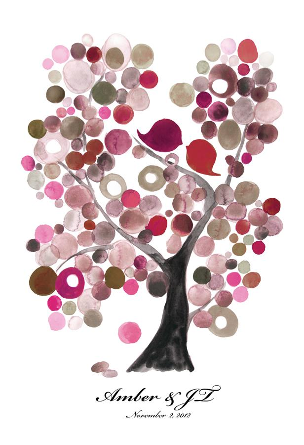 WEDDING GUEST BOOK ALTERNATIVE VELVET ASH TREE with LOVE BIRDS - Reviewed by Amber Duggan
