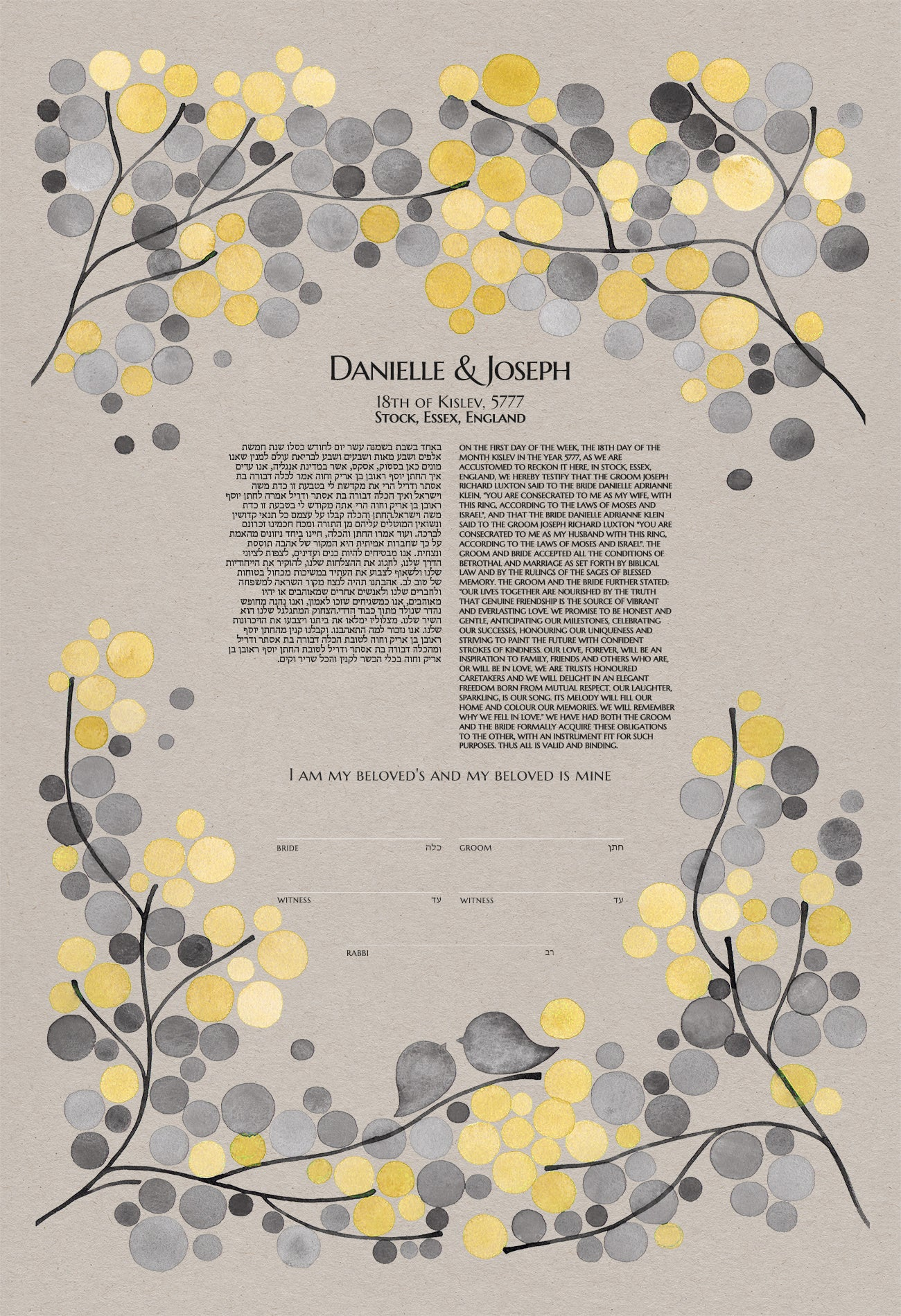 MODERN KETUBAH FLORAL BRANCHES - Review by Danielle Klein