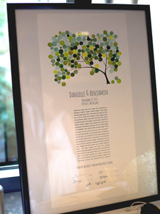 Hand written modern Ketubah Greenery tree