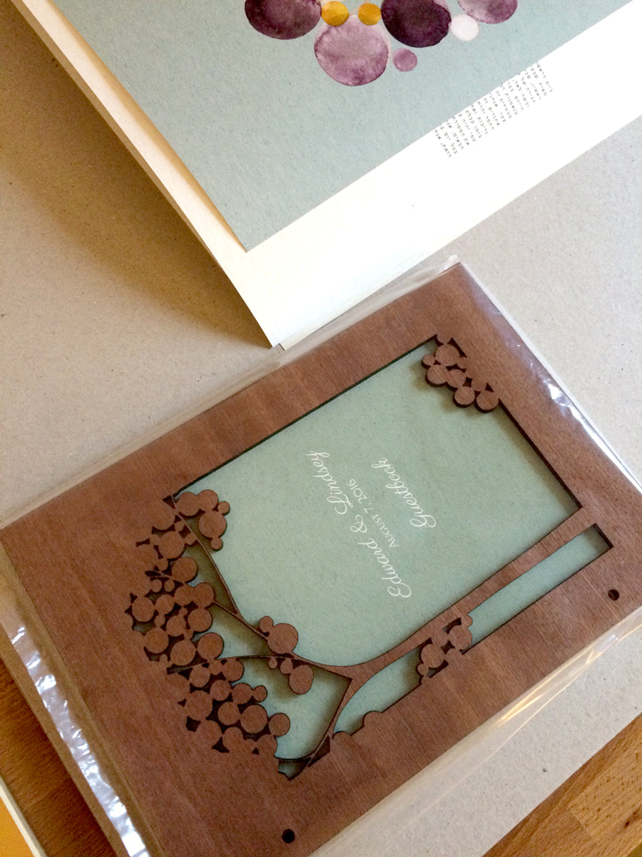 Wood wedding album and matching ketubah