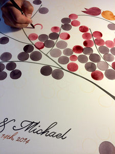 Wedding guest book painting process