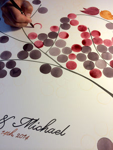 Dot painted Ketubah and Guest book