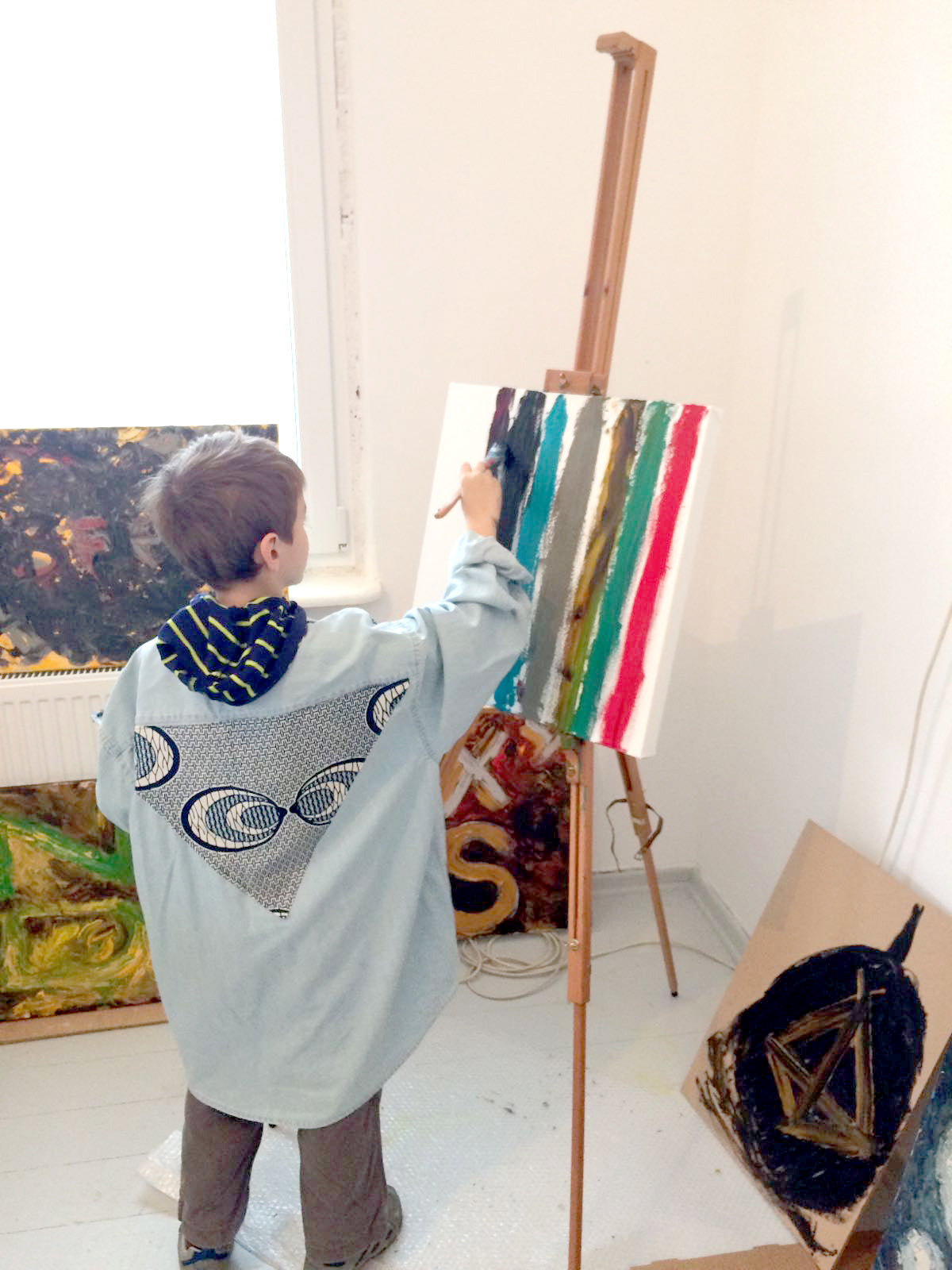 Studio painting workshop << stripes oil on canvas