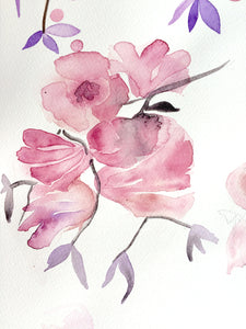 Watercolor painting stylized flowers