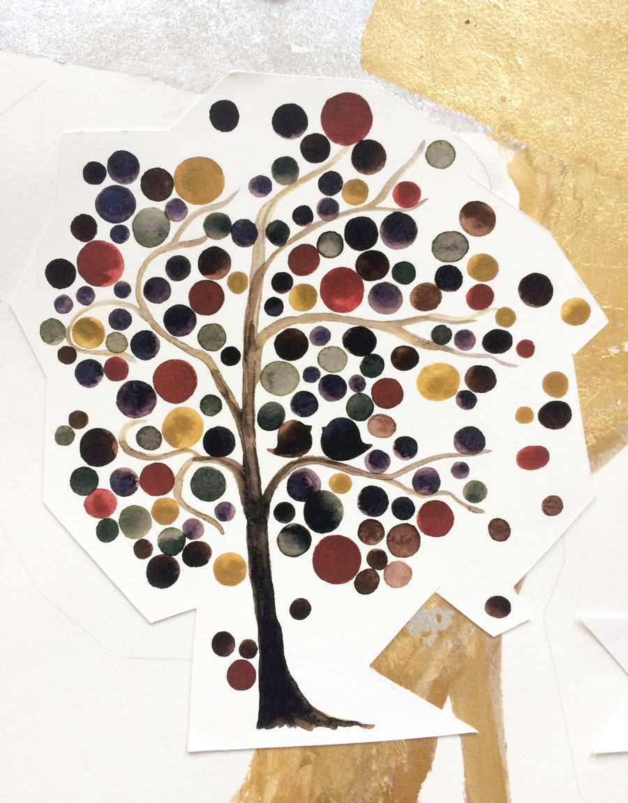Gilded fall tree watercolor and collage