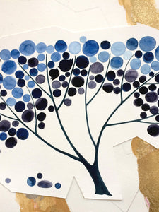 Holiday gifts, Christmas, Hanukkah gifts <> custom winter blue tree with gold leaf