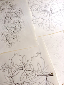 Drawing pomegranates, roses, and branches for bespoke Ketubah and wedding art