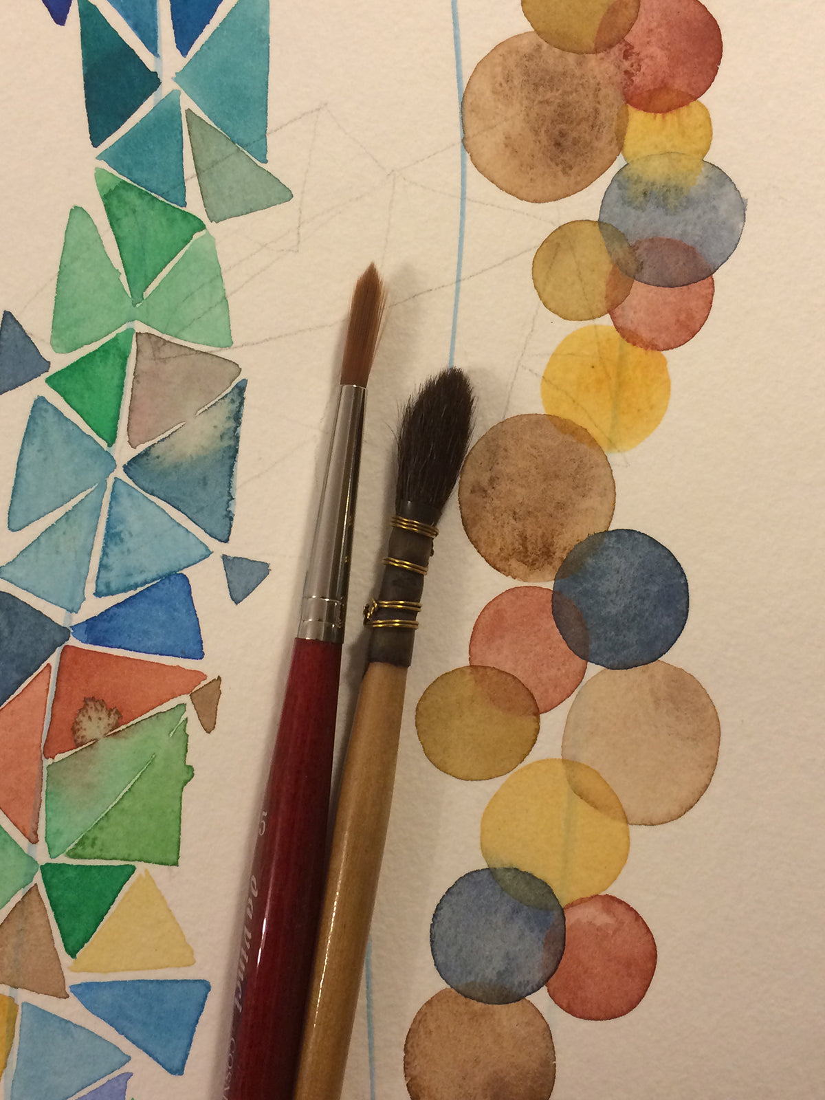 Geometric shapes of watercolor >>> dots and diagrids