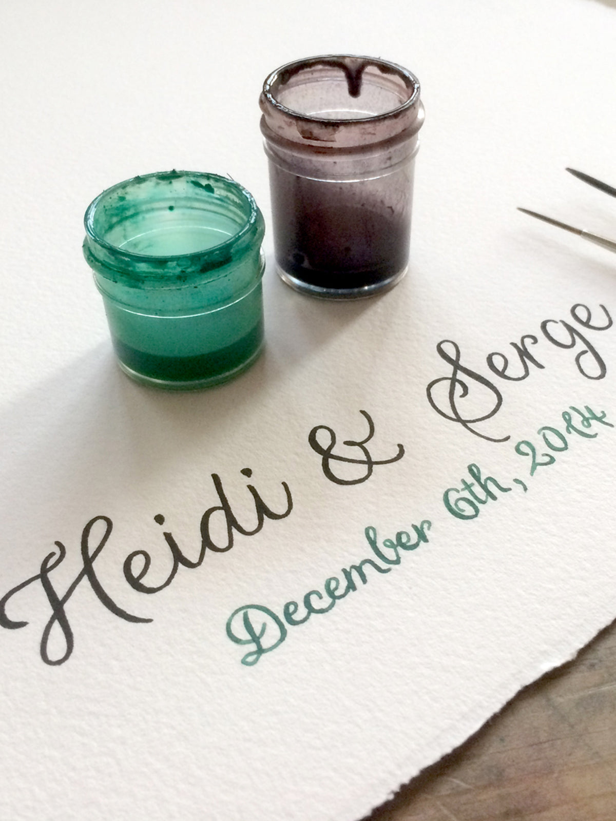 Working on Heidi and Serge winter wedding guest book painting