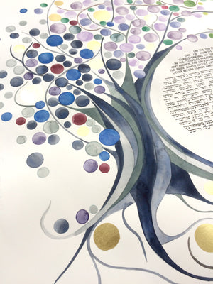Custom artwork commission Ketubah in Watercolor and gold leaf