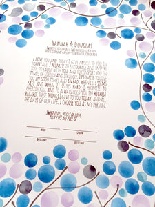 Interfaith Ketubah watercolor painting with handmade calligraphy