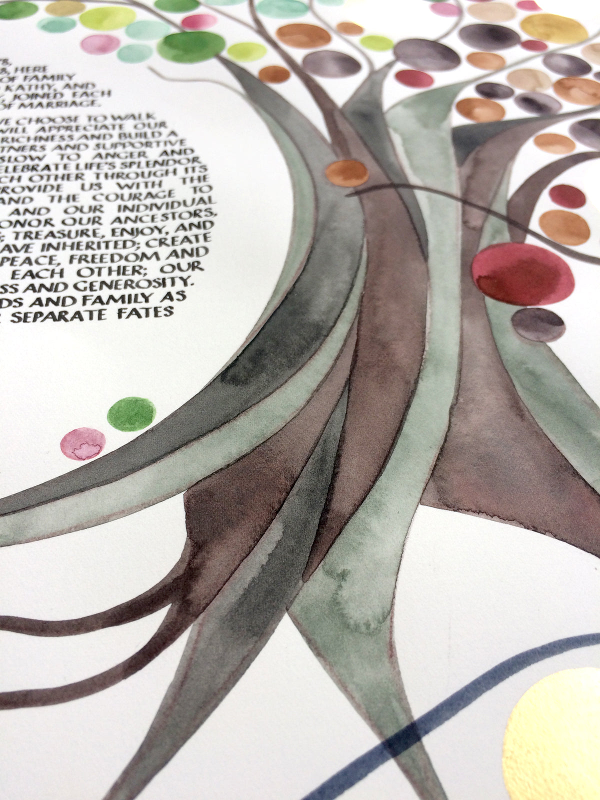 Artwork commission Four Seasons Modern Ketubah
