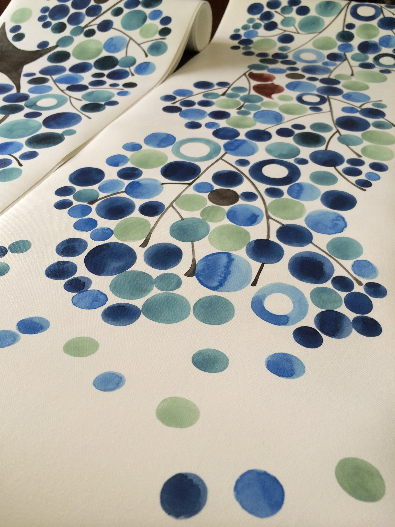 Custom watercolor Table runner