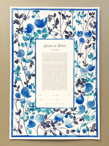 Hand painted modern Ketubah for Jewish and Jew-ish reform, interfaith, secular and traditional weddings