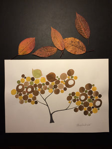 Original watercolor artwork Autumn tree