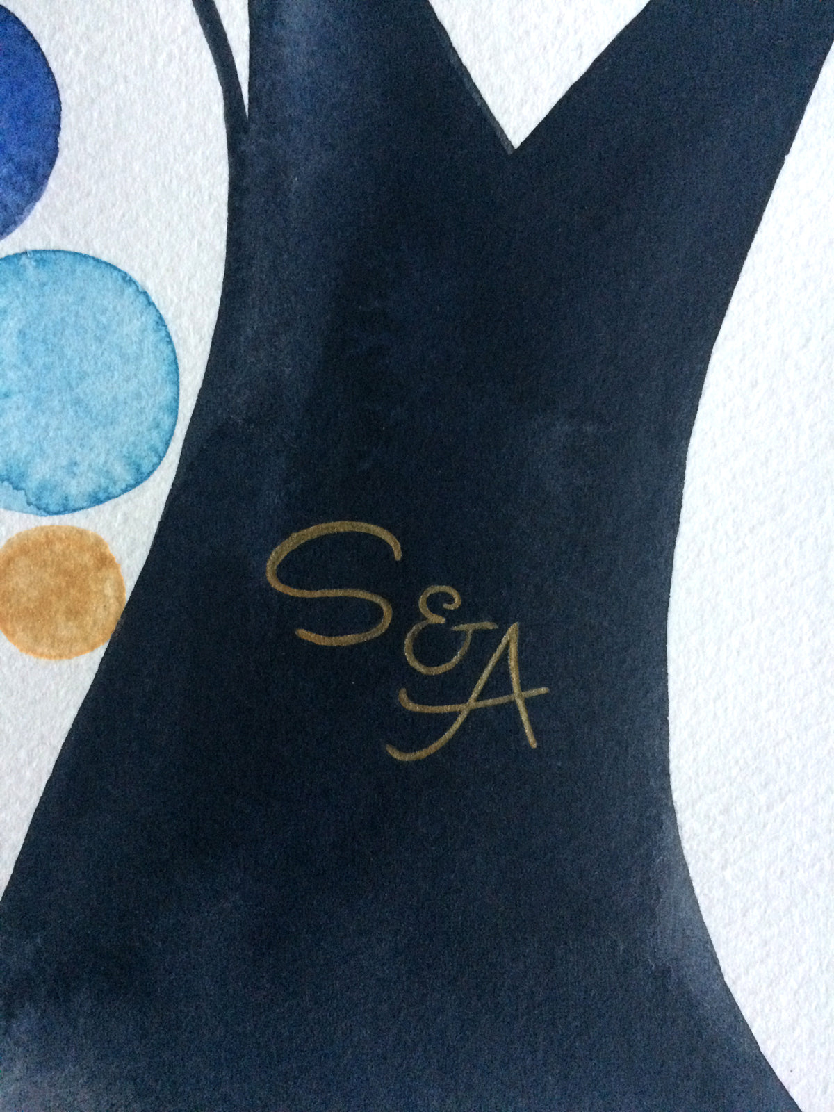 S & A wedding monogram in gold painting