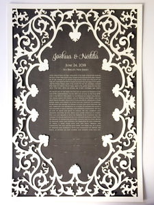 Romantic Art Nouveau papercut ketubah