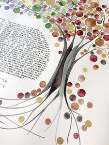 Unique Ketubah art painting commission - FOUR SEASONS KETUBAH