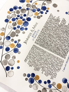 Interfaith Jewish Ketubah Watercolor Painting