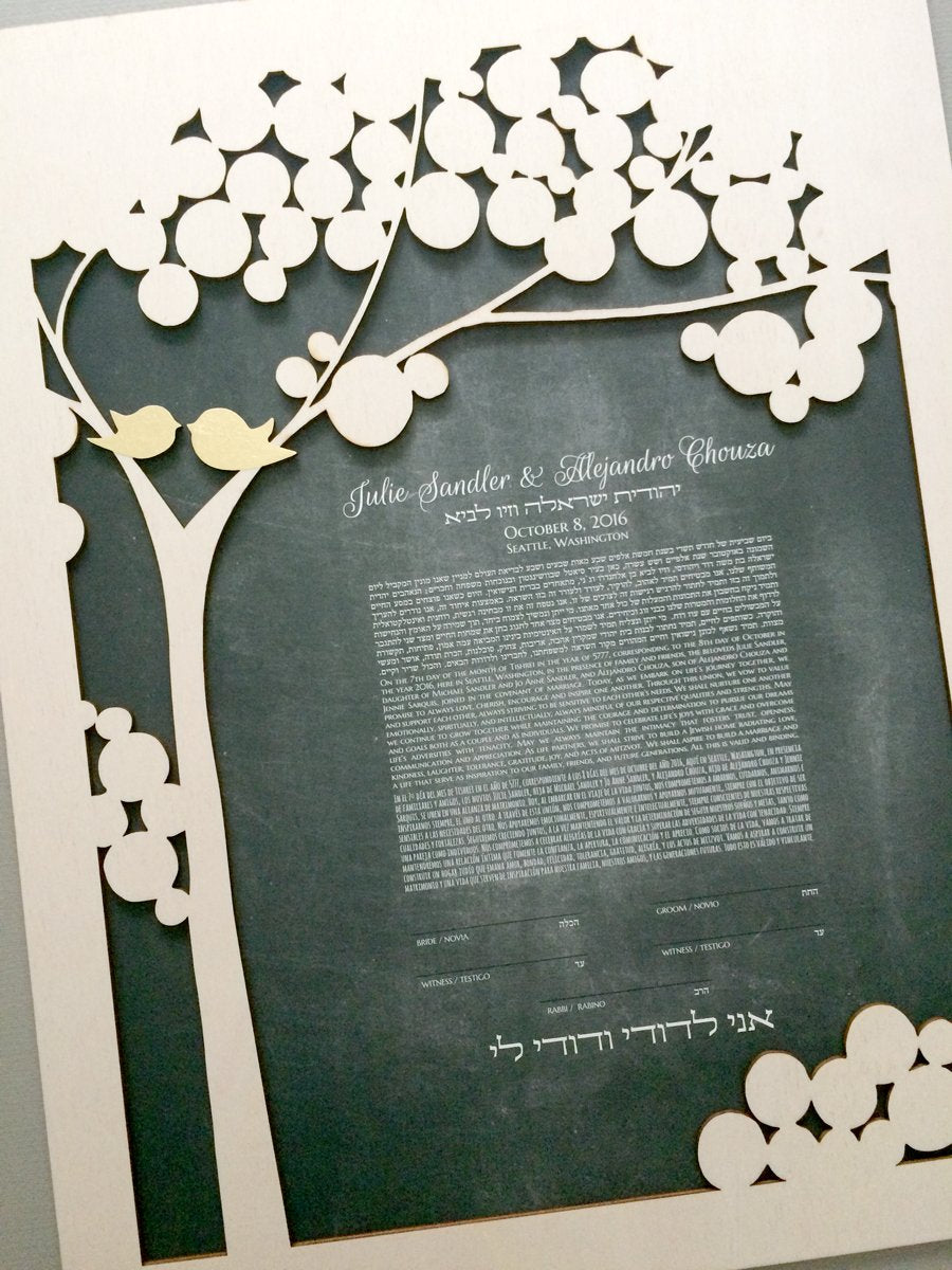 Trilingual Ketubah and other language ketubah examples by ElenaBerlo OnceUponaPaper