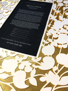 Beloved Garden with gold leaf covered papercut layer Ketubah