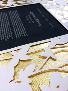 Real 23k gold leaf layered Papercut Ketubah