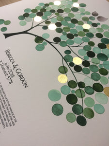 safari green moss ketubah gold