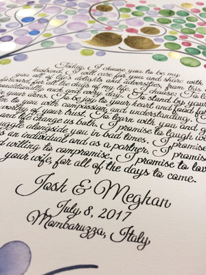 Italy, jewish ketubah calligraphy wedding anniversary gift painted ketubah watercolor gold leaf tree of life