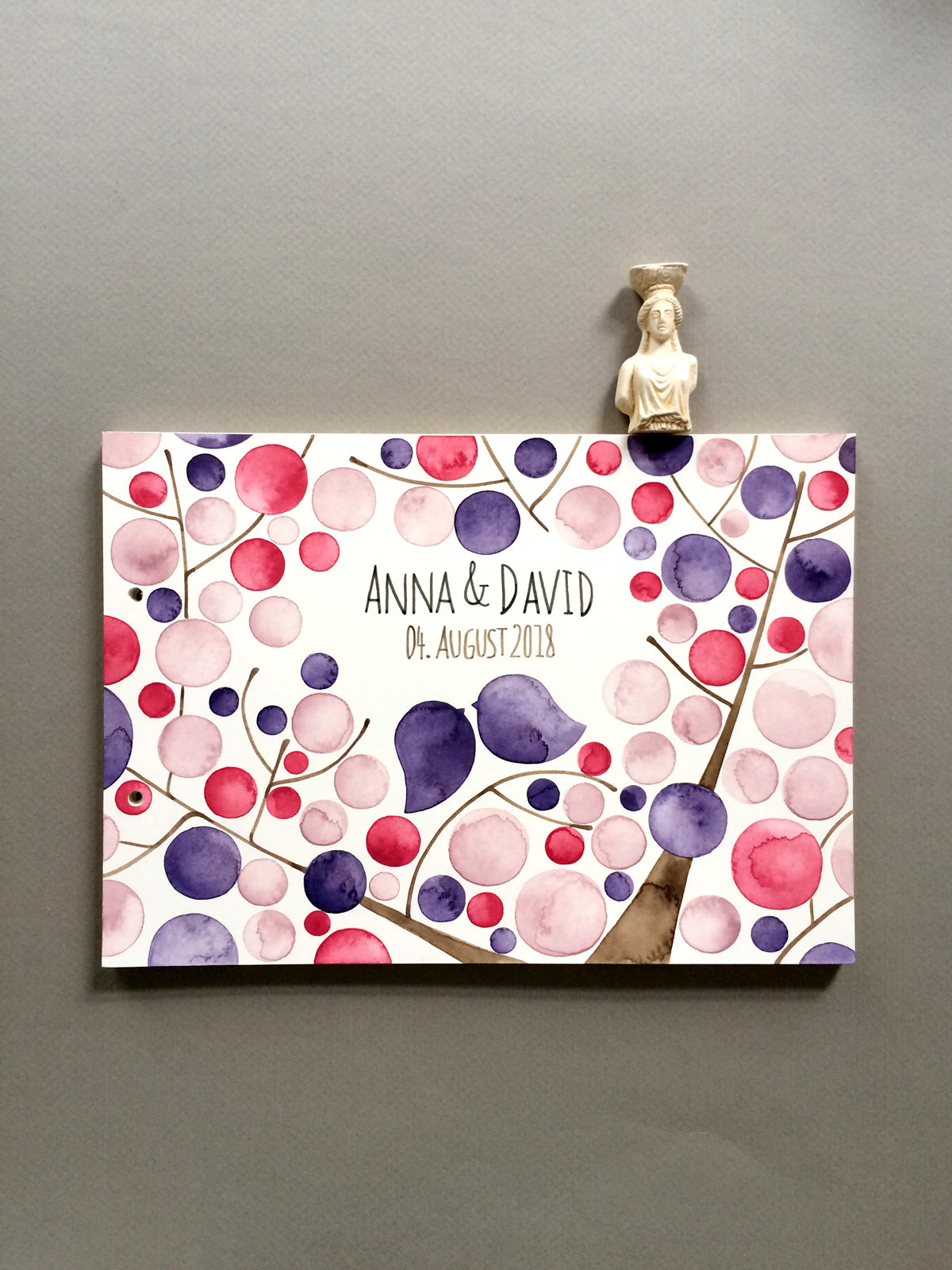 Jewel watercolor painted Wedding album