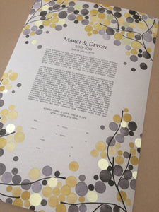 Giclee printed ketubah with gold leaf applied