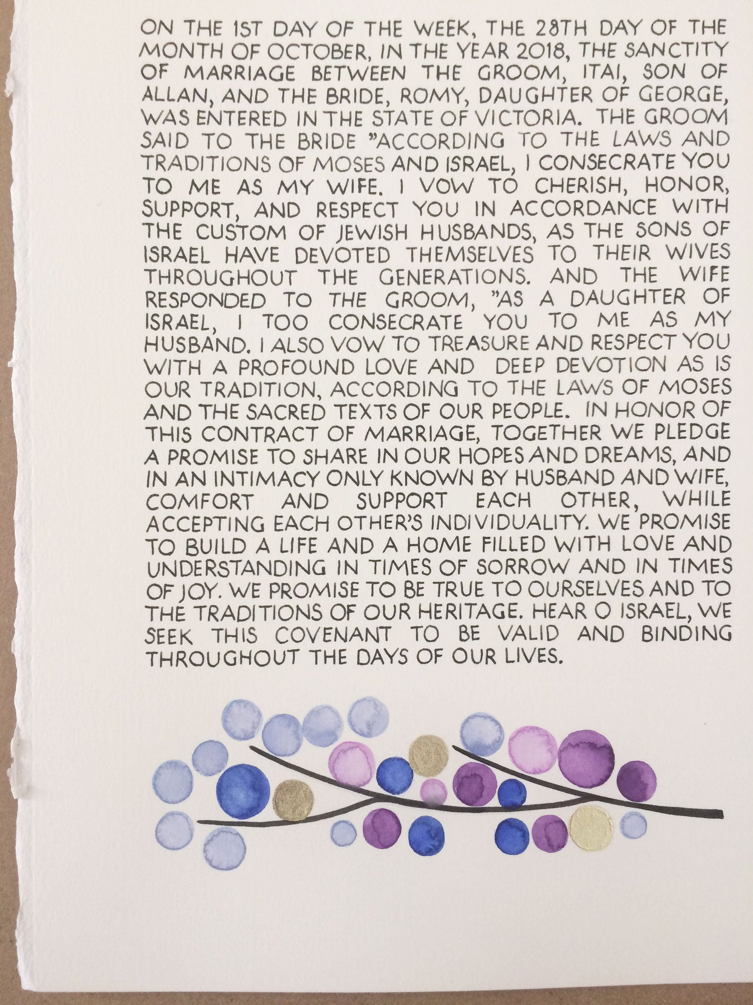 Hand calligraphy on original unique painted ketubah