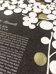 Custom Ketubah Commission Papercut with gold leaf printing