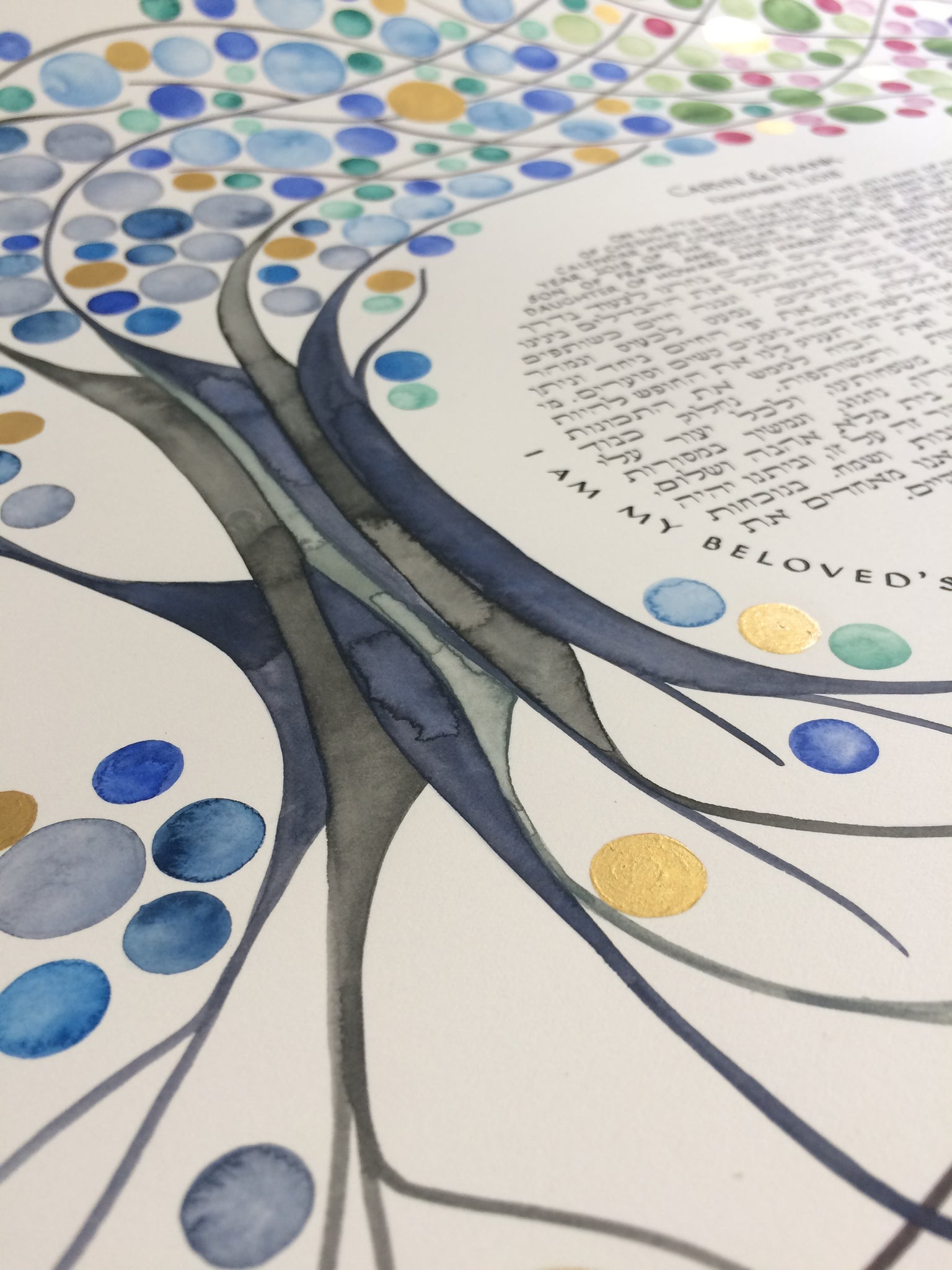 4 seasons ketubah painting