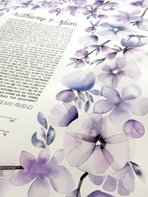original commission painted ketubah flower garlands