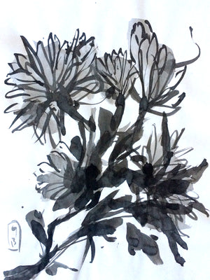 Sumi-e Ink wash painting by Genu
