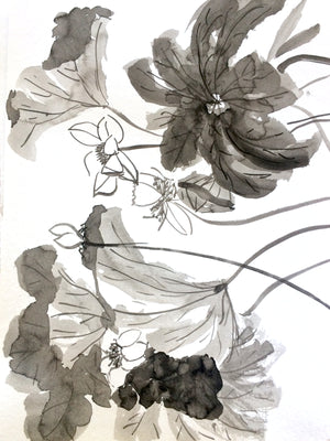 onceupoapaper elena berlo sumie sumi-e painting Japanese ink on paper black on white