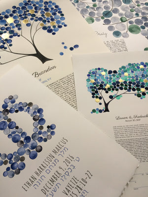 Contemporary Ketubah inside artist Studio