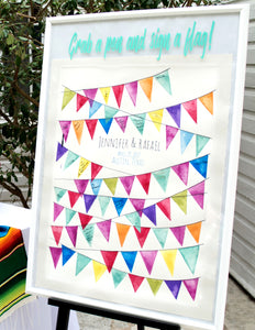 Wedding guestbook alternative Pennants watercolor painting - Reviewed by Jennifer Moody