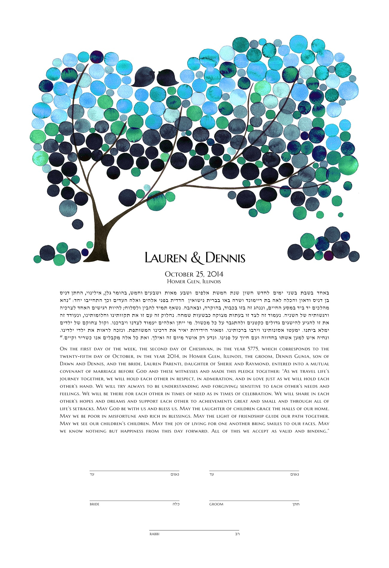 OnceUponaPaper Giclée Ketubah - Reviewed by Lauren Parenti