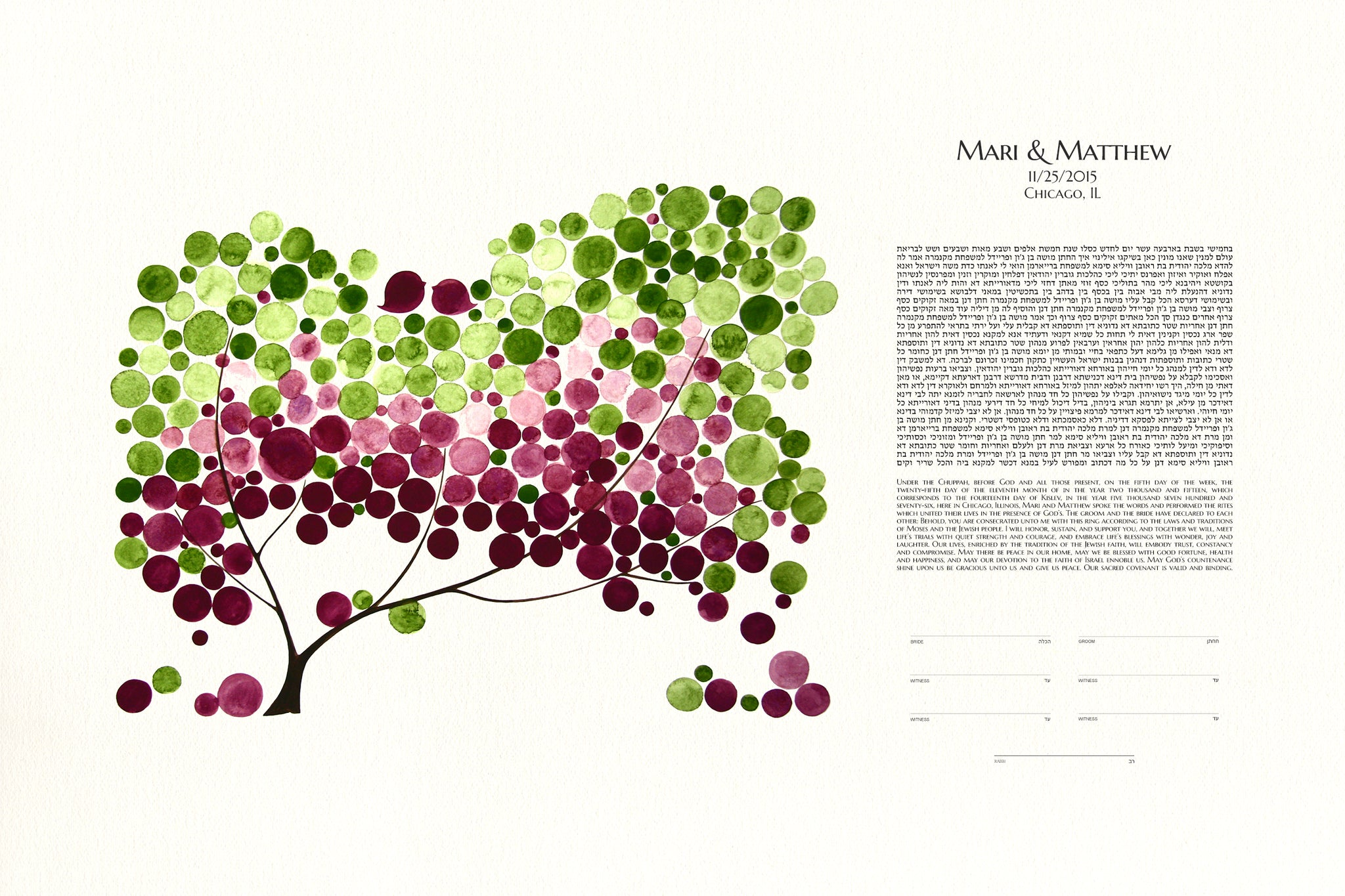 Modern Ketubah Tree of Life and Love Birds - Reviewed by Matt McNamara
