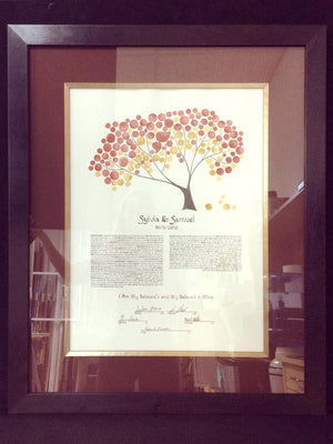 watercolor ketubah frame framed onceuponapaper elena berlo painted