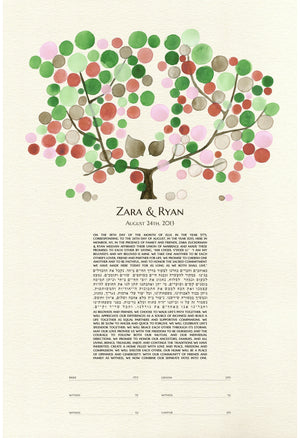 MODERN KETUBAH TREE OF LIFE AND LOVE BIRDS - Reviewed by Zara Zuckerman
