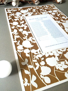 Beloved garden papercut ketubah