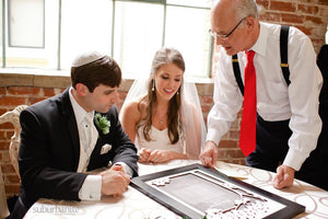 OnceUponaPaper Woodcut Ketubah Real Weddings - Nicole & Daniel